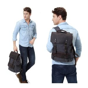 Vintage Style Canvas Leather Backpack Rucksack